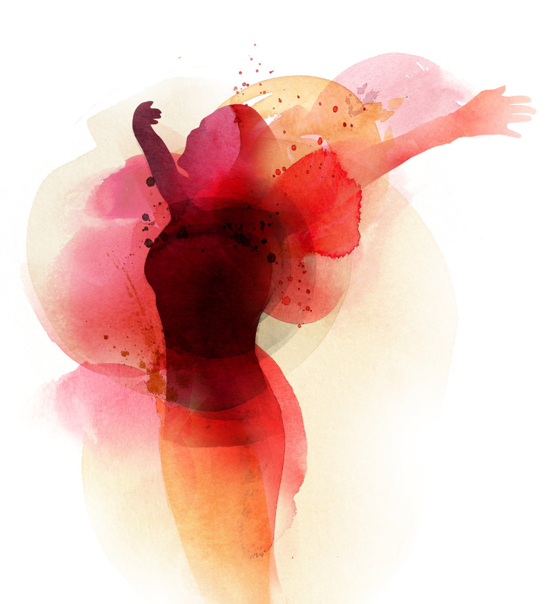 Watercolor silhouette of woman with arms out